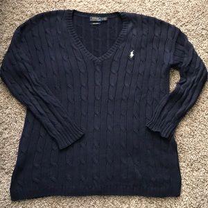 Polo Pima Cotton Cable knit Vneck Sweater